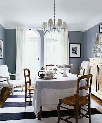 blue grey dining rooms. There s that gray again  Love the white sheer tablecloth as well This room is from The City Sage Design Fantasy Living Dining Room dandelion paperweight